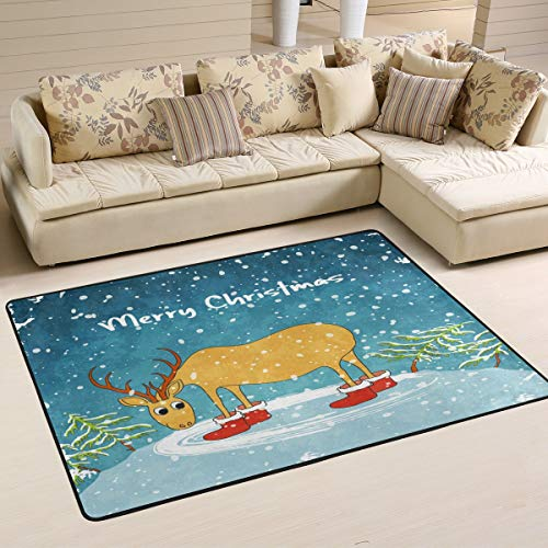 Wamika Merry Deer Hill Doormat Snow Tree Indoor Outdoor Rug for Kitchen Living Room Bedroom Outside Patio Inside Entry Way, 3' x -
