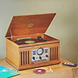 1byone Nostalgic Wooden Turntable Vinyl Record Player With Am And Fm