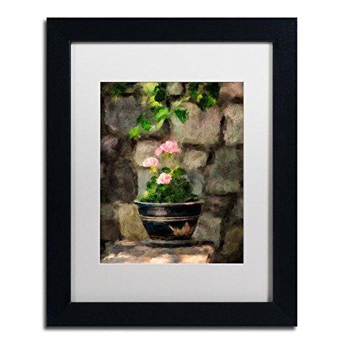 Sun Kissed Pink Geraniums by Lois Bryan, White Matte, Black Frame 11x14-Inch