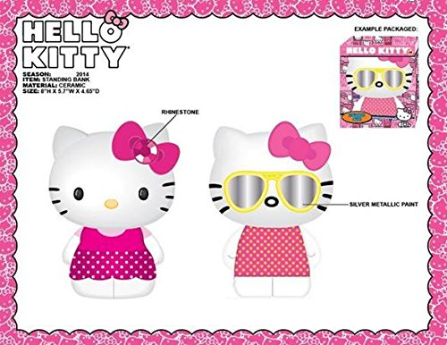 Hello Kitty Standing Ceramic Coin Bank Set - 1 - Sunglasses 1 with Rhinestone Bow