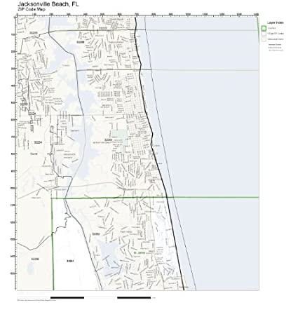 Current Map Of Florida.Amazon Com Zip Code Wall Map Of Jacksonville Beach Fl Zip Code Map