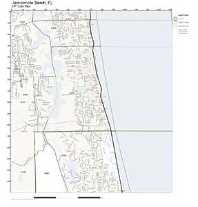 Amazon.com: ZIP Code Wall Map of Jacksonville Beach, FL