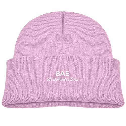 Banana King BAE, Best Auntie Ever Baby Beanie Hat Toddler Winter Warm Knit Watch Cap for Kids Pink