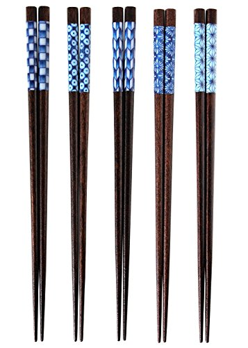 "Ishida Chopstick Set (5 Pairs) ""Indigo"" Traditional Japanese Graphic Design, 23cm"