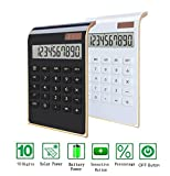 Desktop Calculator, BESTWYA 10-Digit Dual Power Handheld Desktop Calculator with Large LCD Display Big Sensitive Button (New Black & White, Pack of 2)