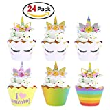 Konsait Unicorn Cupcake Decorations, Unicorn Cupcake Toppers Horn and Ears Double Sided Wrappers for...
