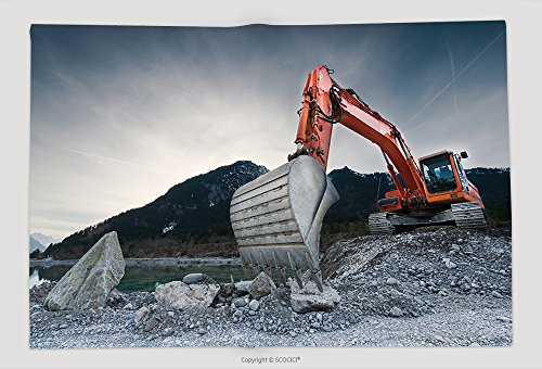 Supersoft Fleece Throw Blanket Heavy Organge Excavator With Shovel Standing On Hill With Rocks_39092646