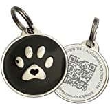 Zinc Alloy Pet ID Tag w/ QR Code | URL Link for Smartphone/Web w/ Last Scanned GPS Location