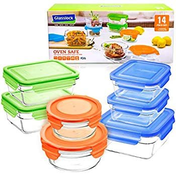 Glasslock 14pc Set Assorted Color Lids Airtight Spill Proof Food Storage Containers Microwave & Oven Safe