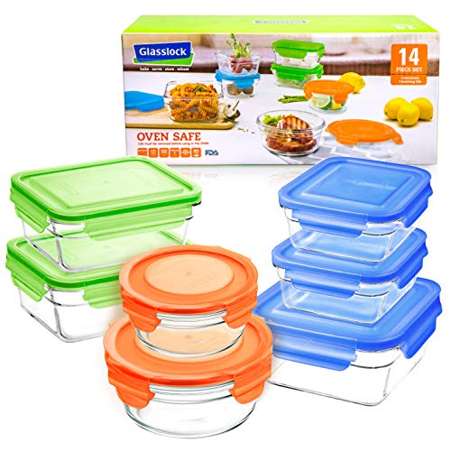 - Glasslock 14pc Set Assorted Color Lids Airtight Spill Proof Food Storage Containers Microwave & Oven Safe