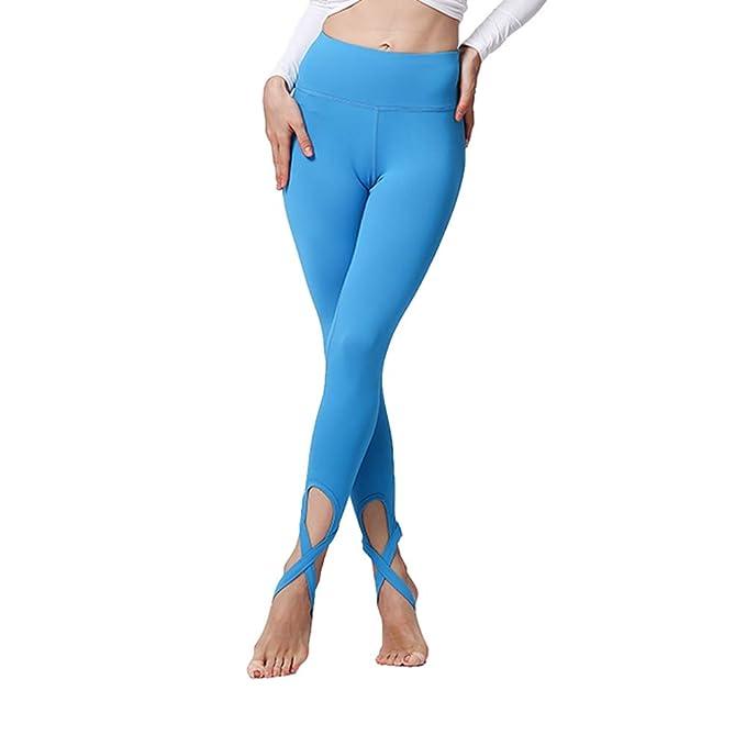 Señoras Pantalones de Yoga de Cintura Alta sólido Cruz ...