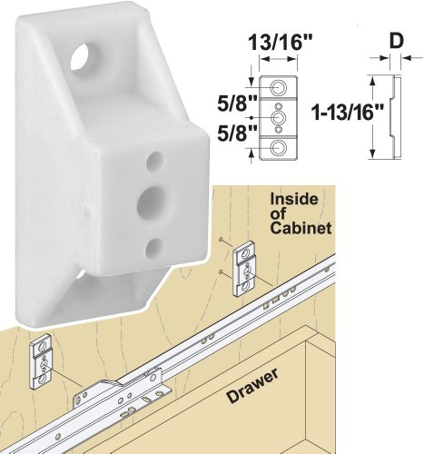 "Platte River 136058, Hardware, Drawer Slides, Mounting Hardware, 1/2"" Plastic Slide Spacer, 20-pack"