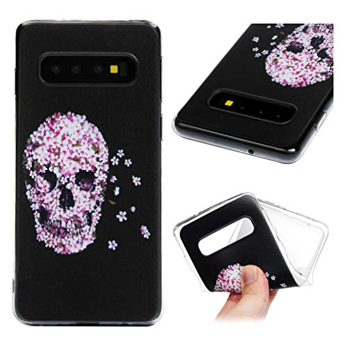 - Galaxy S10 Case, 3D Cute Design Painted Pattern Ultra Slim Fit Crystal Silicone TPU Shockproof Anti-Scratch Rubber Skin Cover for Samsung Galaxy S10 - Pink Thistle