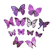 Whitelotous 3D Emulational Purple Butterfly Wall Stickers Crafts Butterflies with Double Sided Sticky for Home Wedding Decoration 12pcs