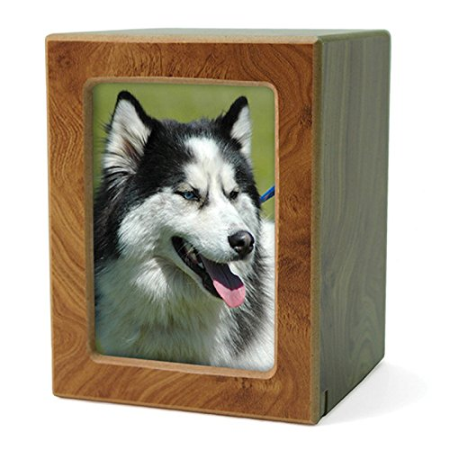 OneWorld Memorials Photo Frame Wood Cremation Urn for Cats and Dogs - Medium - Holds Up to 85 Cubic Inches of Ashes - Natural Brown Pet Cremation Urn for Ashes - Engraving Sold Separately