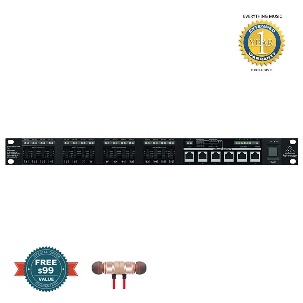 Behringer Powerplay P16-I 16-Channel 19'' Input Module includes Free Wireless Earbuds - Stereo Bluetooth In-ear and 1 Year Everything Music Extended Warranty