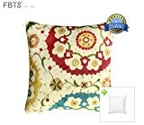 FBTS Prime Throw Pillow with Insert Indoor Outdoor 18 by 18 Inches Decorative Square Cushion Cover Pillow Sham (White, Floral) for Couch Bed Sofa Patio