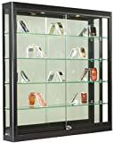 Wall-Mounted, Black Aluminum Glass Display Cabinet, Illuminated, Locking Sliding Glass Doors, Ships Fully Assembled