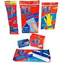 Brillo Basics Ultimate Cleaning Bundle 6 Items Brillo Pads, Scours (Stainless), Sponge, Large Gloves, Drying Cloths, Wet Floor Cloths