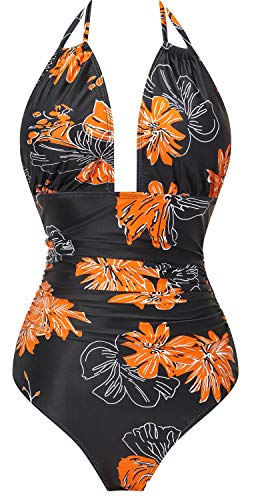 I2CRAZY Women Swimsuit High Neck V-Neckline Removable Padding Bathing Suit Sexy Slimming Monokini - M,Flower-04