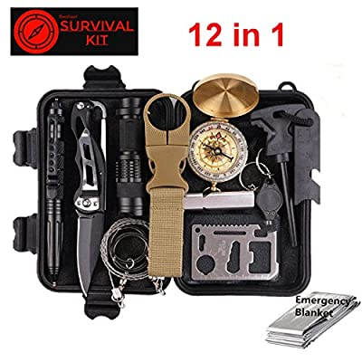Red Alert 12 in 1 Emergency Survival Tool Safety Kit Includes Compass Knife Blanket Flashlight Multi-tool and more. For Hiking Camping Climbing Earthquake Fire EMP Disaster Prep, Stay Alive by Red Alert