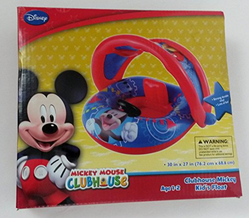 Disney Mickey Mouse Inflatable Kids Float with Optional Sun Cover Canopy