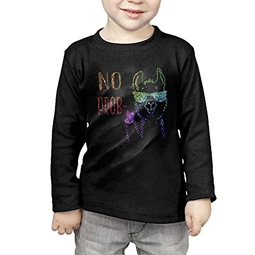 Problems Toddler T-shirt - Llama Raglan Sparkling No Problem Kids Children Unisex Long Sleeve Cotton Crew Neck T-Shirt Tee 2 Toddler