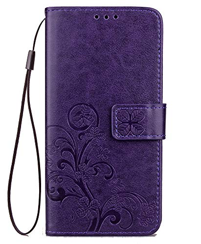 iPhone XR Wallet Case, Felico iPhone XR Flip Case Card Holder Emboss Clover Flower PU Leather Magnetic Protective Kickstand Cover with Detachable Strap Compatible with Apple iPhone XR 6.1