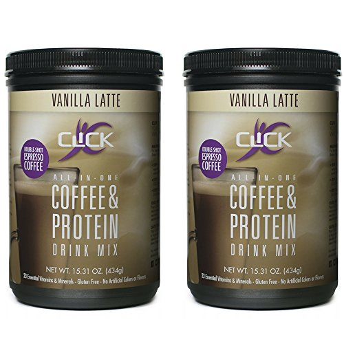 CLICK All-in-One Protein & Coffee Meal Replacement Drink Mix, Vanilla Latte, 15.3 Ounce (2 Pack)