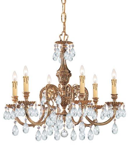 Chandeliers 6 Light With Olde Brass Clear Swarovski Strass Crystal Cast Brass 25 inch 360 Watts - World of - Olde Swarovski Brass Strass Crystal