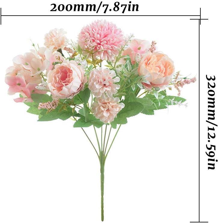 JUN-H 2 Bouquet De Fausses Fleurs Pivoine Artificielle Bouquet De Mari/ée Artificielle Faux Bouquet De Fleurs Artificielle F/ête De Mariage /À La Maison Fleur Salon Arrangement Floral D/écoration Rose