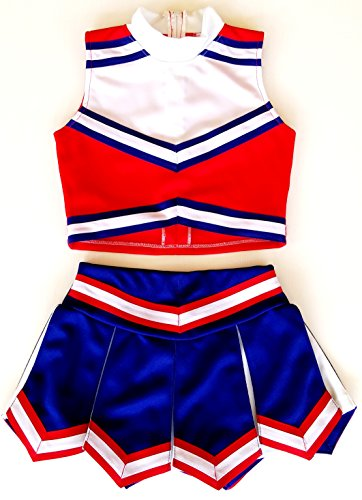 Little Girls' Cheerleader Cheerleading Outfit Uniform Costume Cosplay Red/Blue/White (L/ (Cheerleader Clothes)