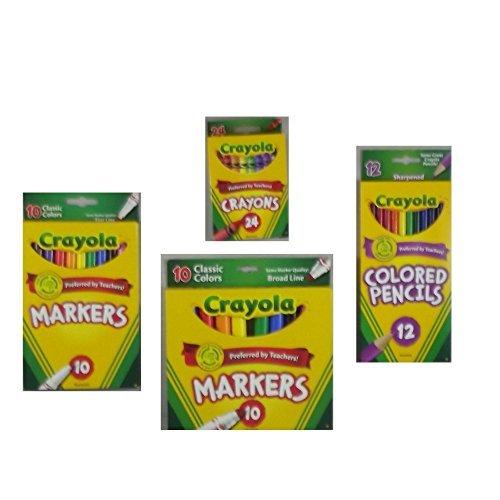 Crayola Crayons (24 Count), Crayola Colored Pencils in Assorted Colors (12 Count), Crayola (10ct) Classic Fine Line Markers, and Crayola (10ct) Classic Broad Line Markers Holiday  Bundle by Crayola