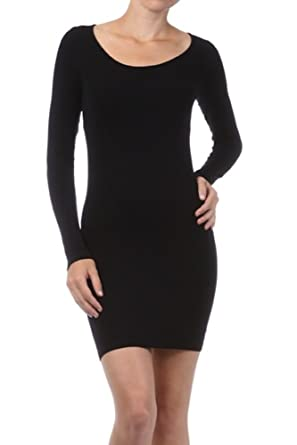 f36d769571 M. Rena Women s Long Sleeve Tunic Dress-One Size Fits Most-Black at ...