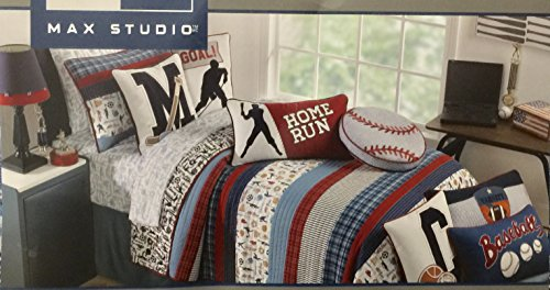 Max Studio 1 Pc Reversible Quilt - All Star Baseball, Hockey, Soccer, Baseball, Basketball Plaid Red Blue White (Twin) by Max Studio Kids