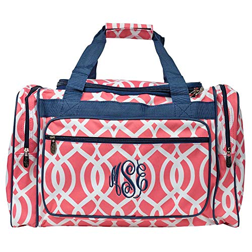 Personalized Womens Coral Vine with Navy Trim Duffle Bag 20 Inch ()