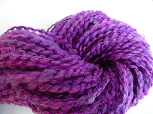 Handspun Sock Yarn - Soft Purple Boucle Homespun Texture Thick and Quick Yarn