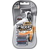 BIC Flex 5 Hybrid Men's 5-Blade Disposable Razor, 1 Handle and 4 Cartridges