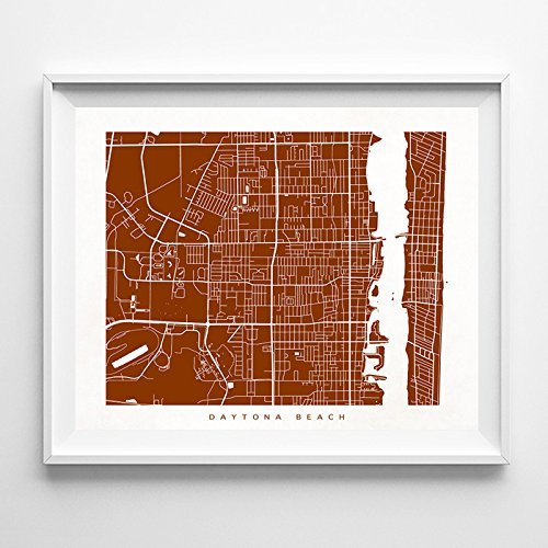 Daytona Beach Florida Street Road Map Poster Wall Art Print