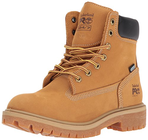 "Timberland PRO Women's Direct Attach 6"" Steel Toe Waterproof Insulated Industrial and Construction Shoe, Wheat Nubuck Leather, 7.5 M US"