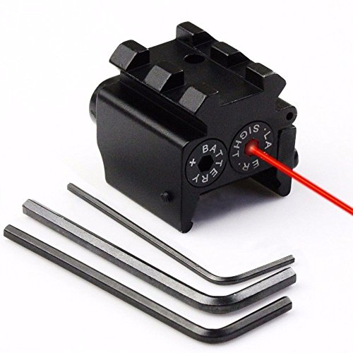 Lukher Tactical Hunting Tactical Red Dot Laser Sight Scope Adjustable Picatinny Rail for Pistol