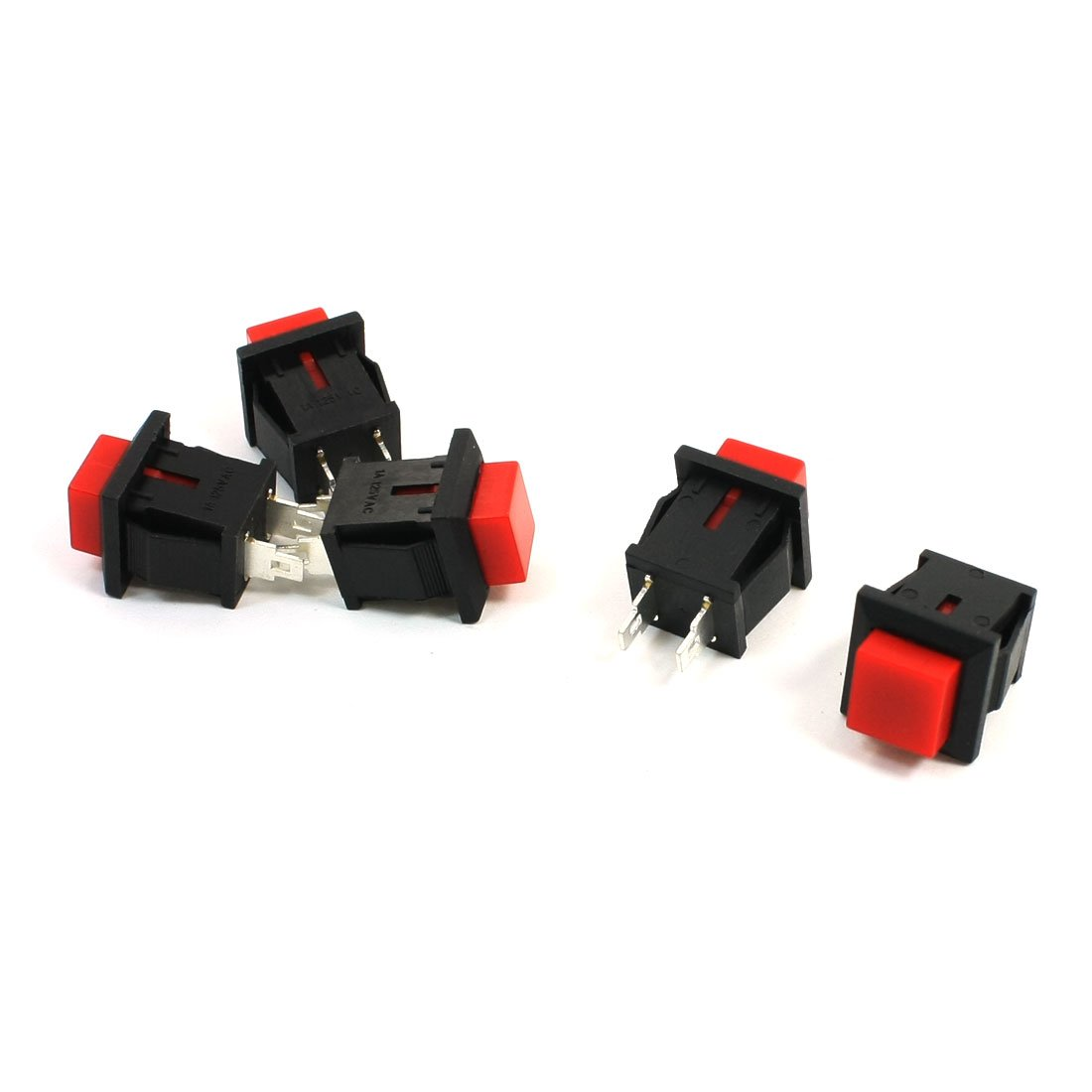 T/ête Carr/ée 5/x Rouge Bouton poussoir SPST non verrouillable Interrupteur 125/VAC 1/A