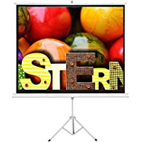 Cloud Mountain Foldable Stand Tripod 84 Portable Projector Screen, 84 Inch Diagonal Projection HD 4:3 Projection Pull Up Office