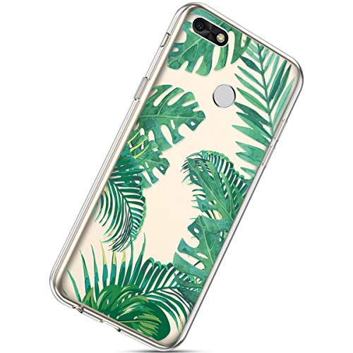 Herbests Compatible with Huawei Y6 Pro 2017 Flower Case Girls Men Clear Design Thin Slim Fit Soft Flexible Crystal Transparent Silicone Rubber TPU Back Cover,Green Leaf
