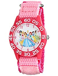 Disney Kid's W001990 Princess Time Teacher Watch with Pink Nylon Band