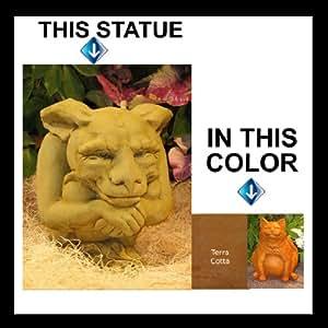 "IGOR GARGOYLE 6"" Statue BURNT ORANGE STAIN (Terra Cotta) OUTDOOR GARDEN CEMENT Concrete Patio ENTRY ACCENT"