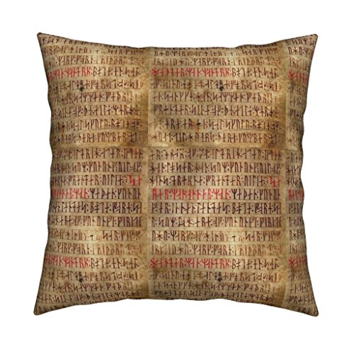 Rune Velvet Throw Pillow Rune Lettering Parchment Red Brown Fantasy Rune Rune Vellum Rune Manuscript Norse Runes Viking by Odinist Cover and Insert Included ()