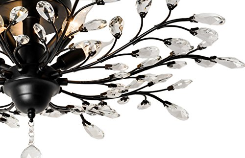 SEOL-LIGHT Vintage Large Crystal Branches Chandeliers Black Ceiling Light Flush Mounted Fixture with 5 Light 200W Large Size by SEOL LIGHT (Image #2)