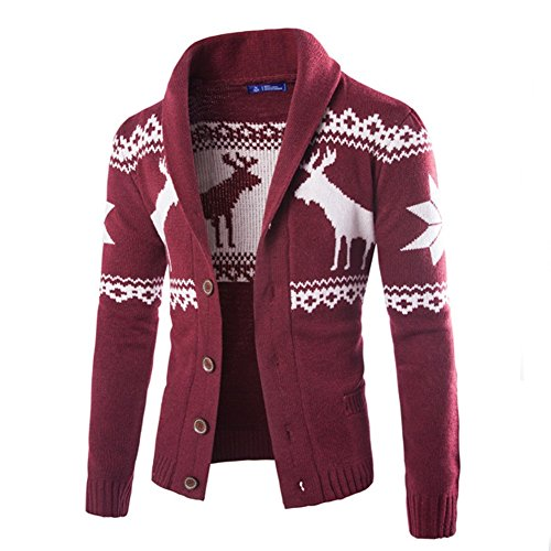 Dasior Men's V Neck Deer Pattern Knitted Cotton Sweater Slim Fit Cardigan 2XL Burgundy Christmas Mens Fashion