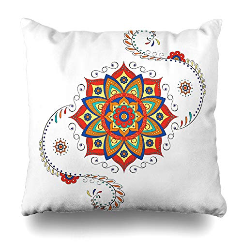 (Pandarllin Throw Pillow Cover Hindu Ethnic Lotus Flower Abstract Colors Culture Drawing Graphic Design Cushion Case Home Decor Design Square Size 20 x 20 Inches Pillowcase)